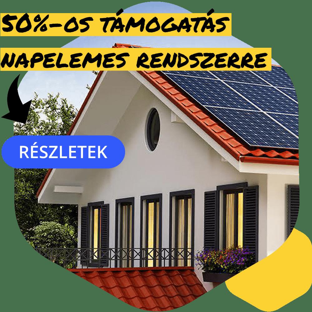 50% támogatás napelemes rendszerre